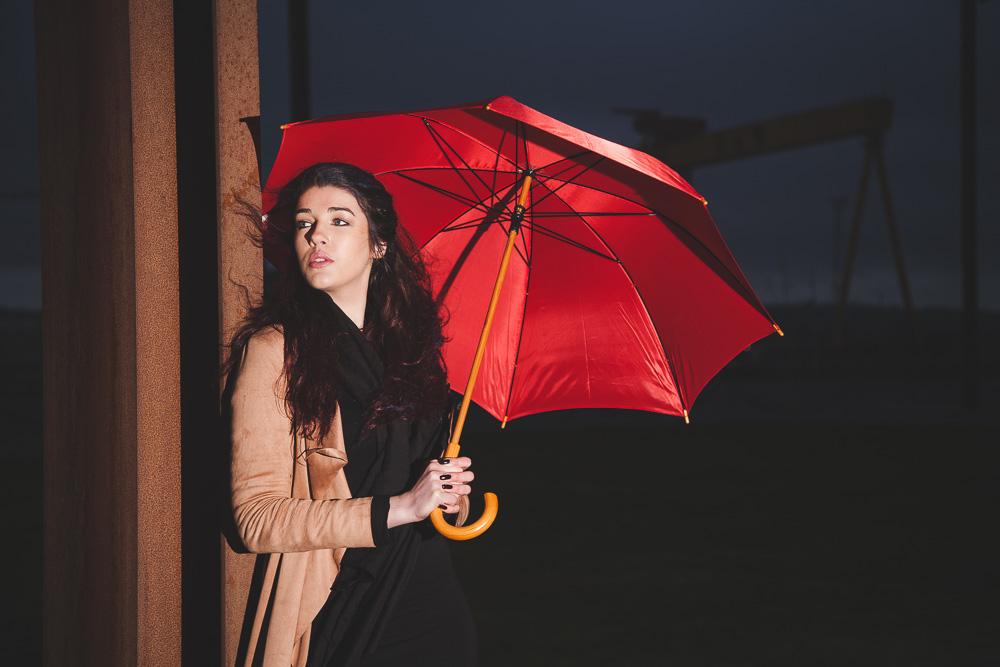 Belfast Model Photographer Red Umbrella