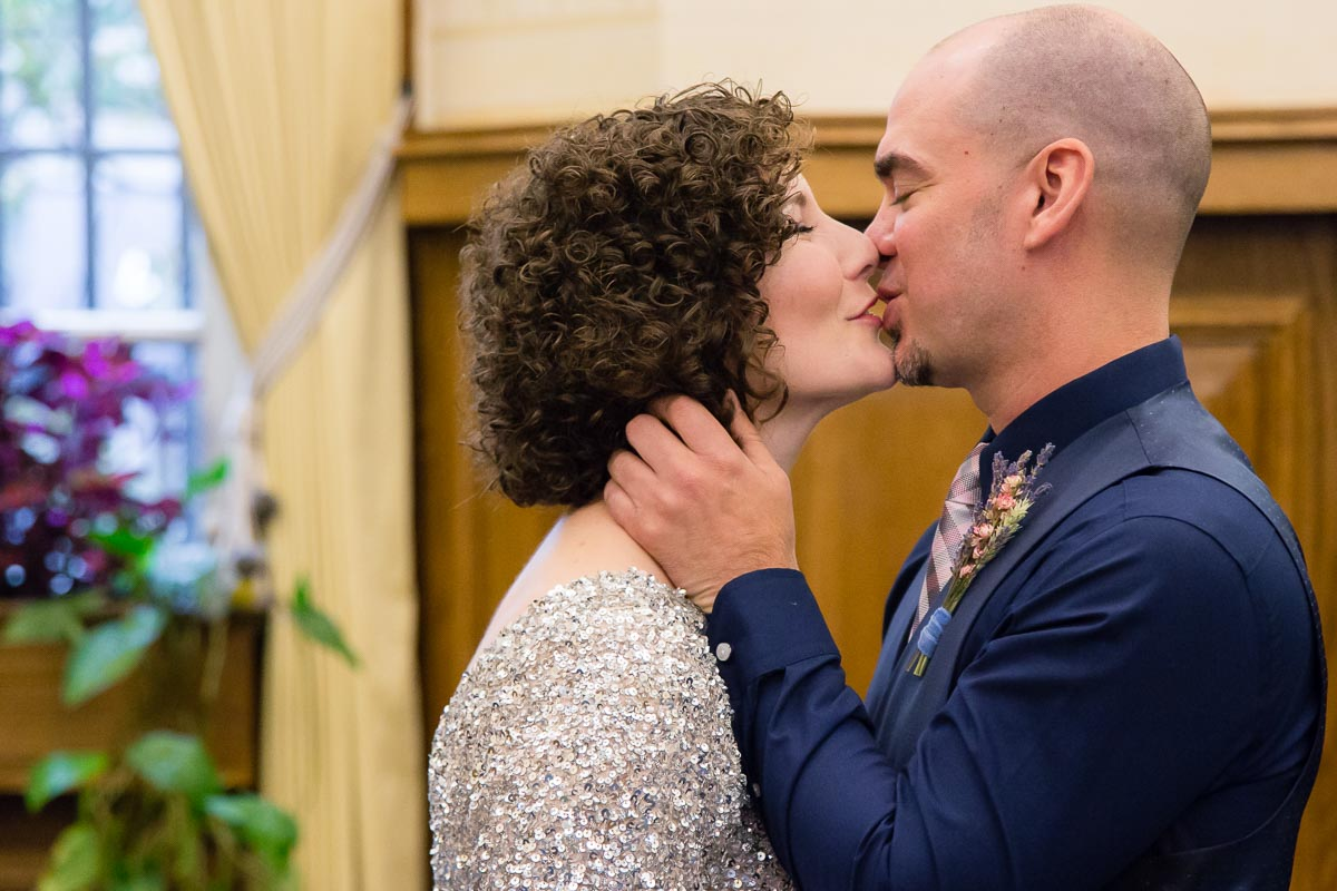 Belfast City Hall Wedding Ceremony Kiss