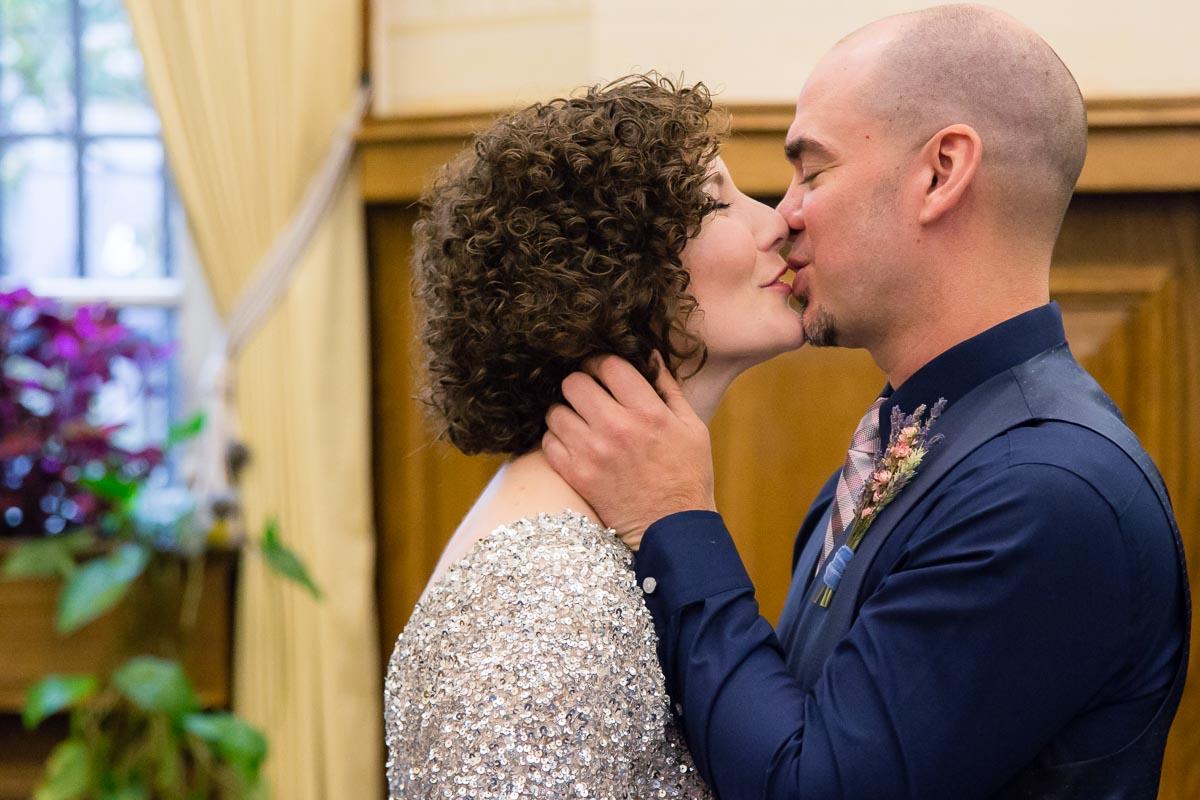 Belfast City Hall Wedding Ceremony Kiss