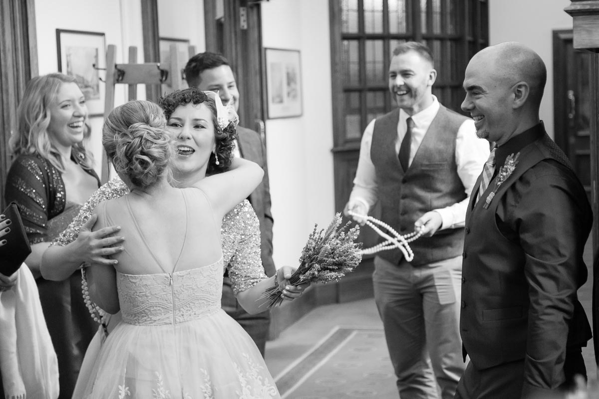 Belfast City Hall Wedding Bride and Guests