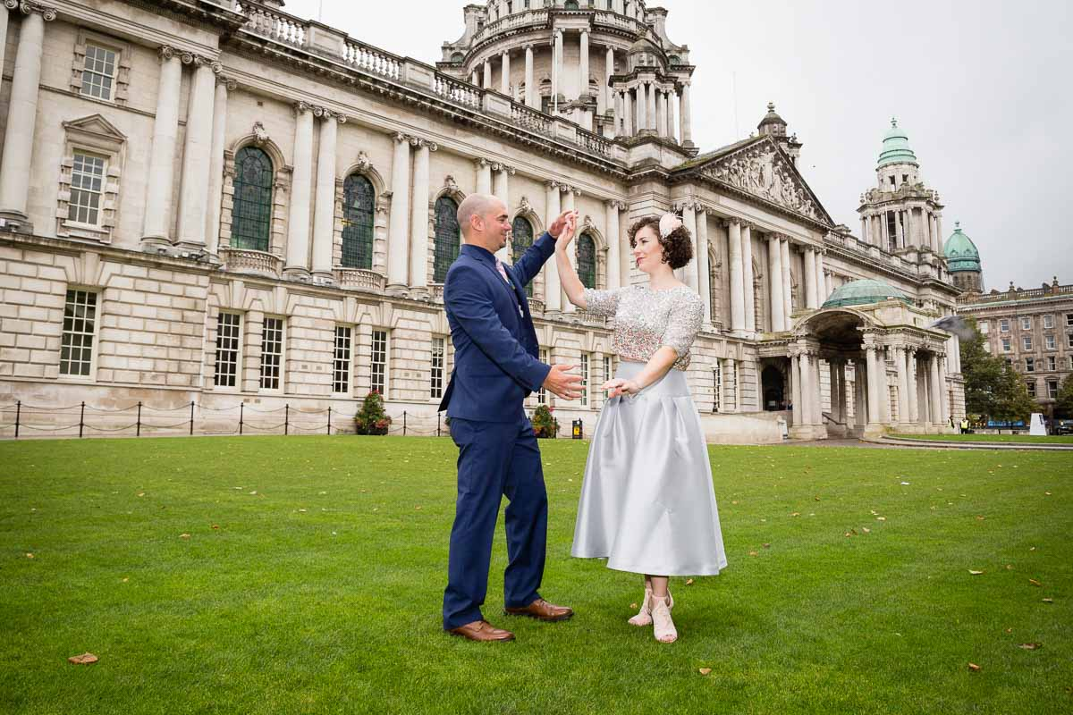 Belfast City Hall Wedding Bride and Groom