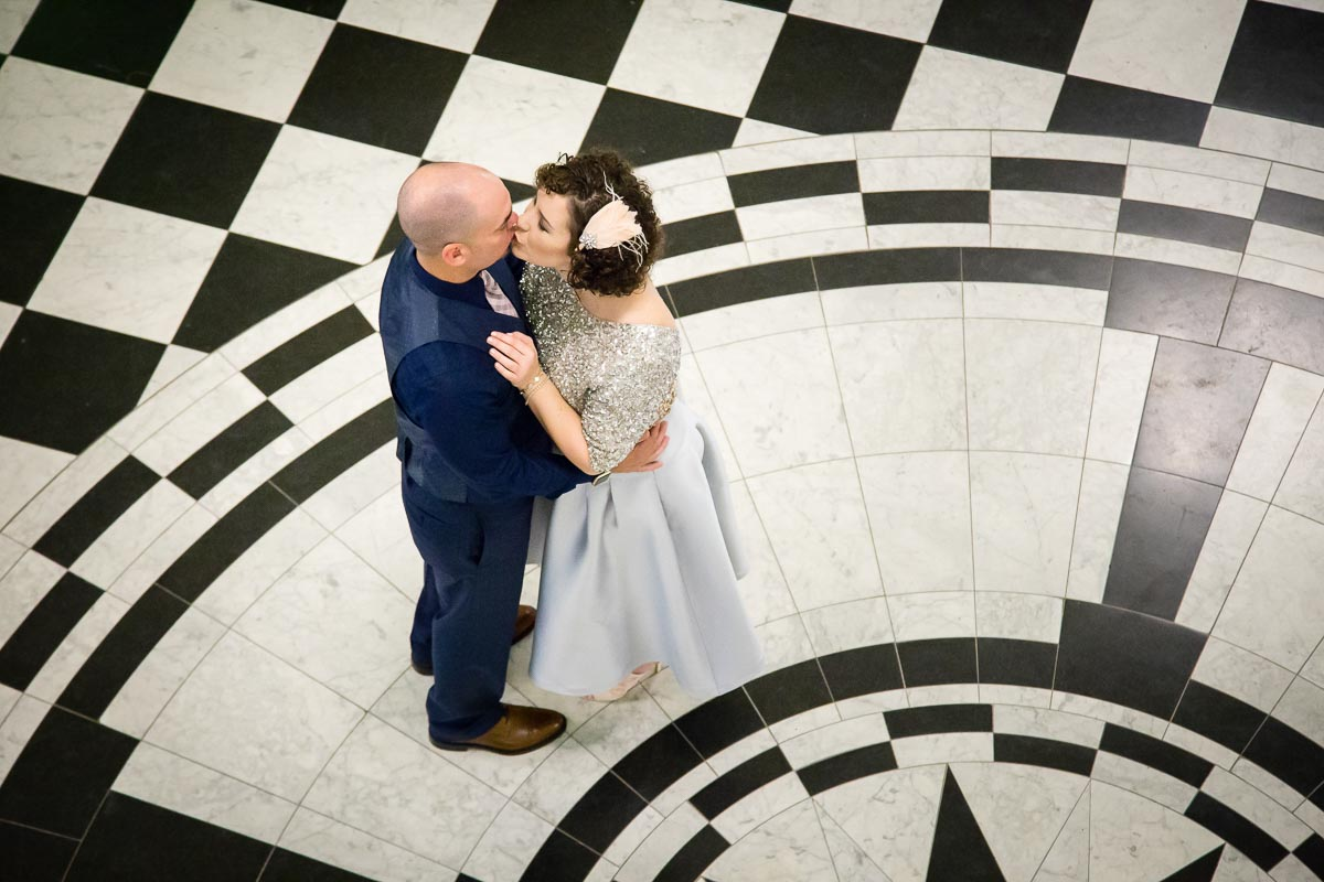 Belfast City Hall Dome Wedding Tara and Ryan kissing