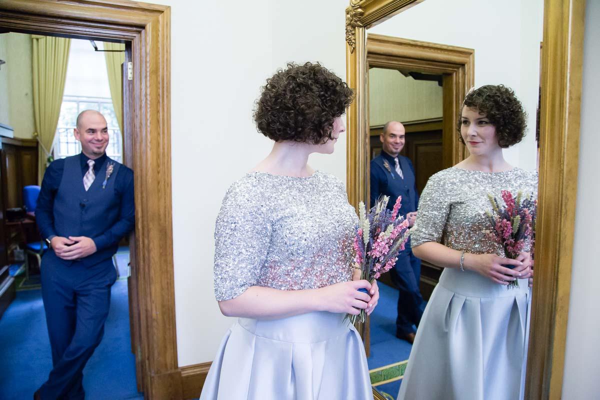 Belfast City Hall Wedding Bride and Groom Mirror