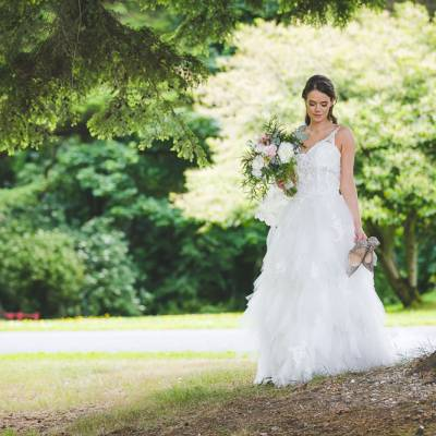 Bride in Forest with Shoes