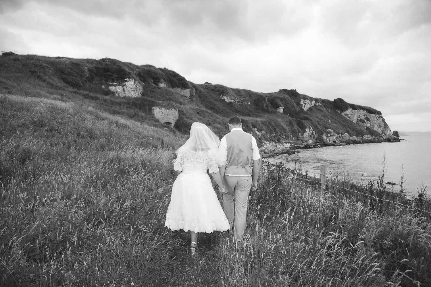 Bride and Groom coastal black and white