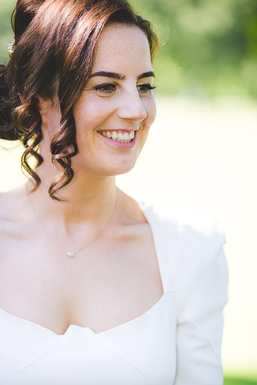 Bride smiling looking away