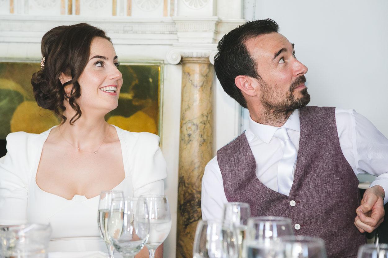 Wedding reception couple smiling