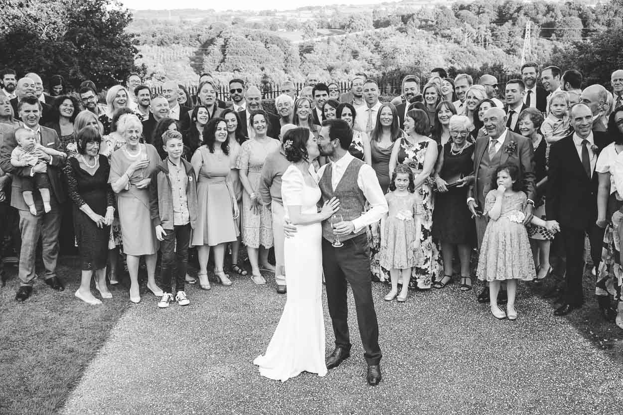 Wedding party group shot black and white