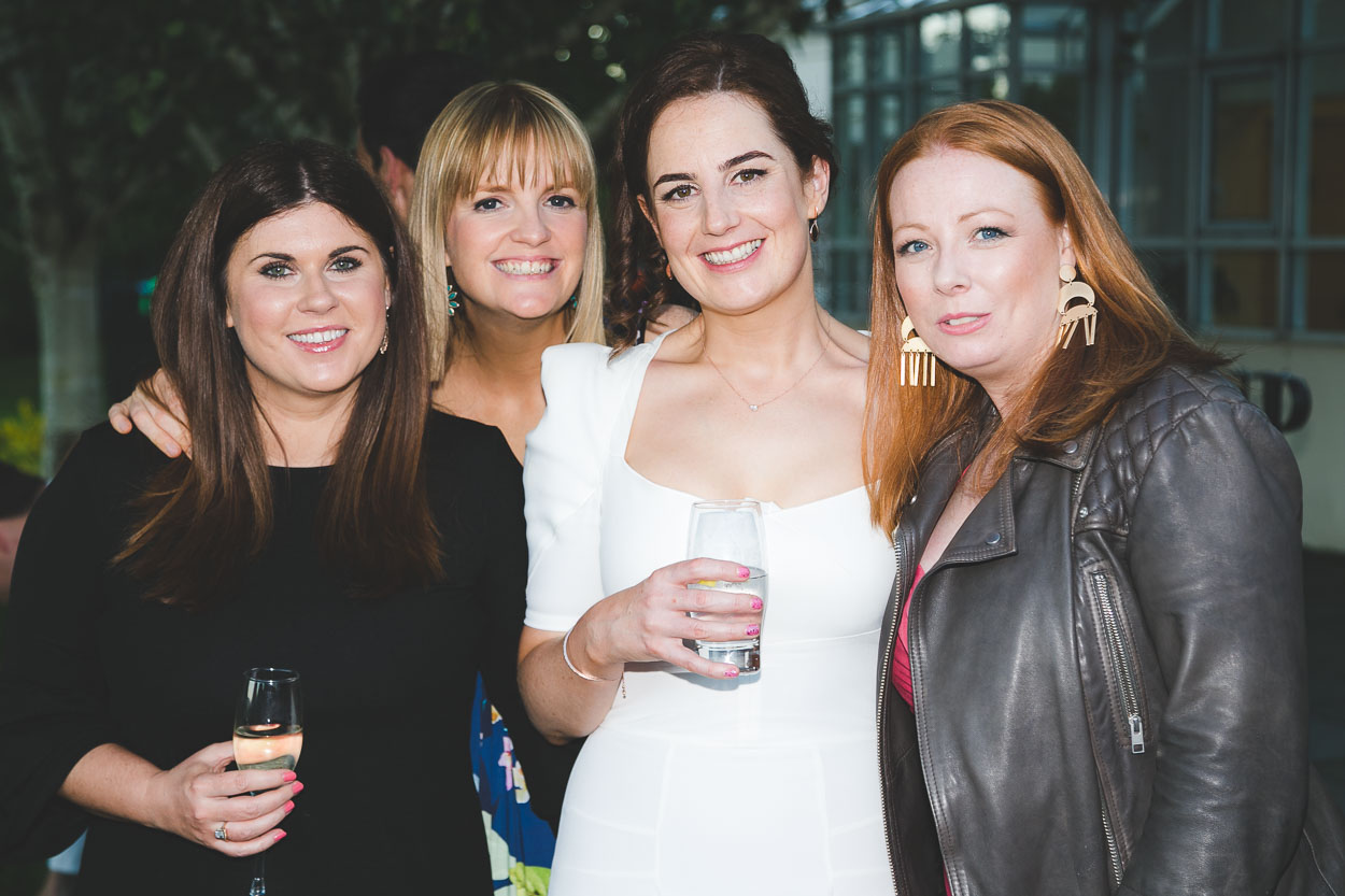 Bride smiling with her friends