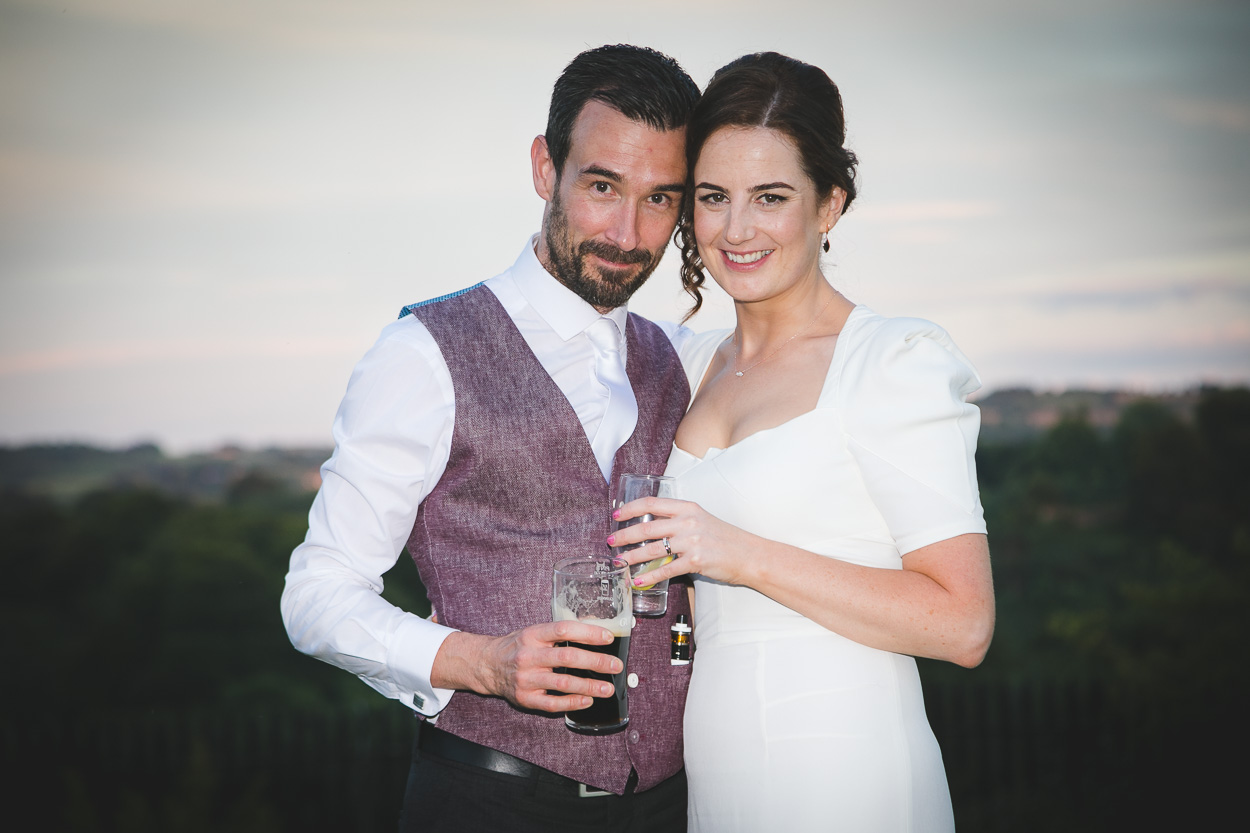 Malone House wedding bride and groom portrait at sunset
