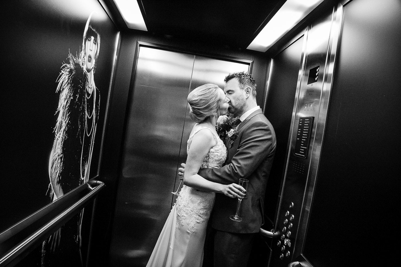 Merchant Hotel Wedding, elevator, kiss