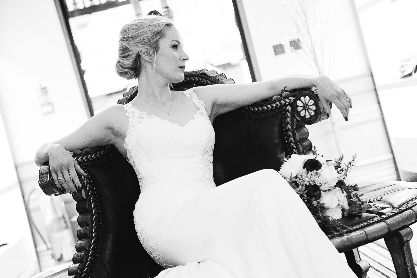 Merchant Hotel Wedding, bride sitting