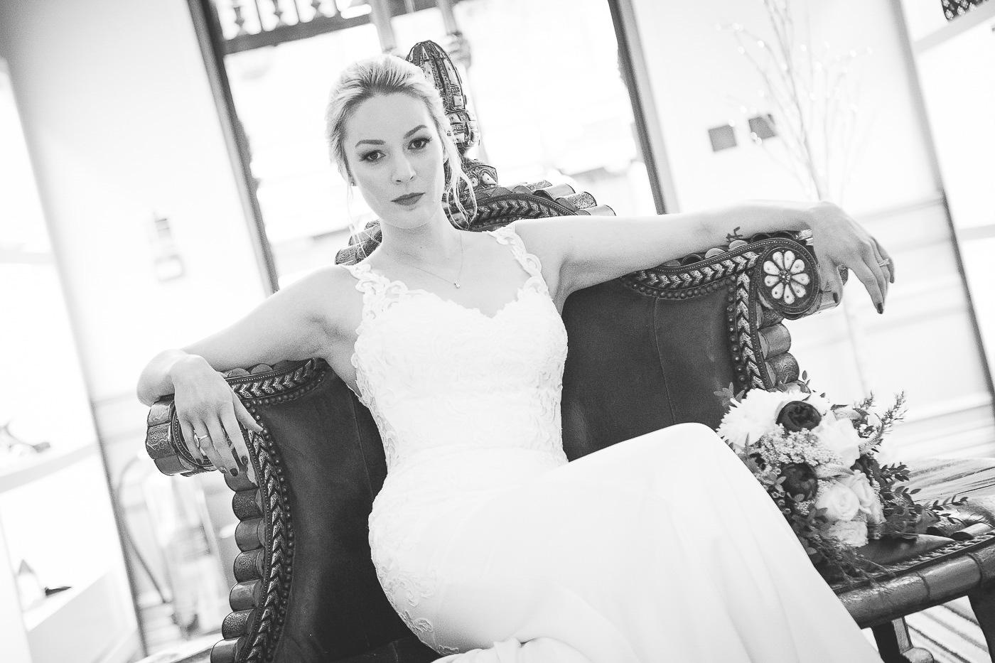 Merchant Hotel Wedding, bride sitting