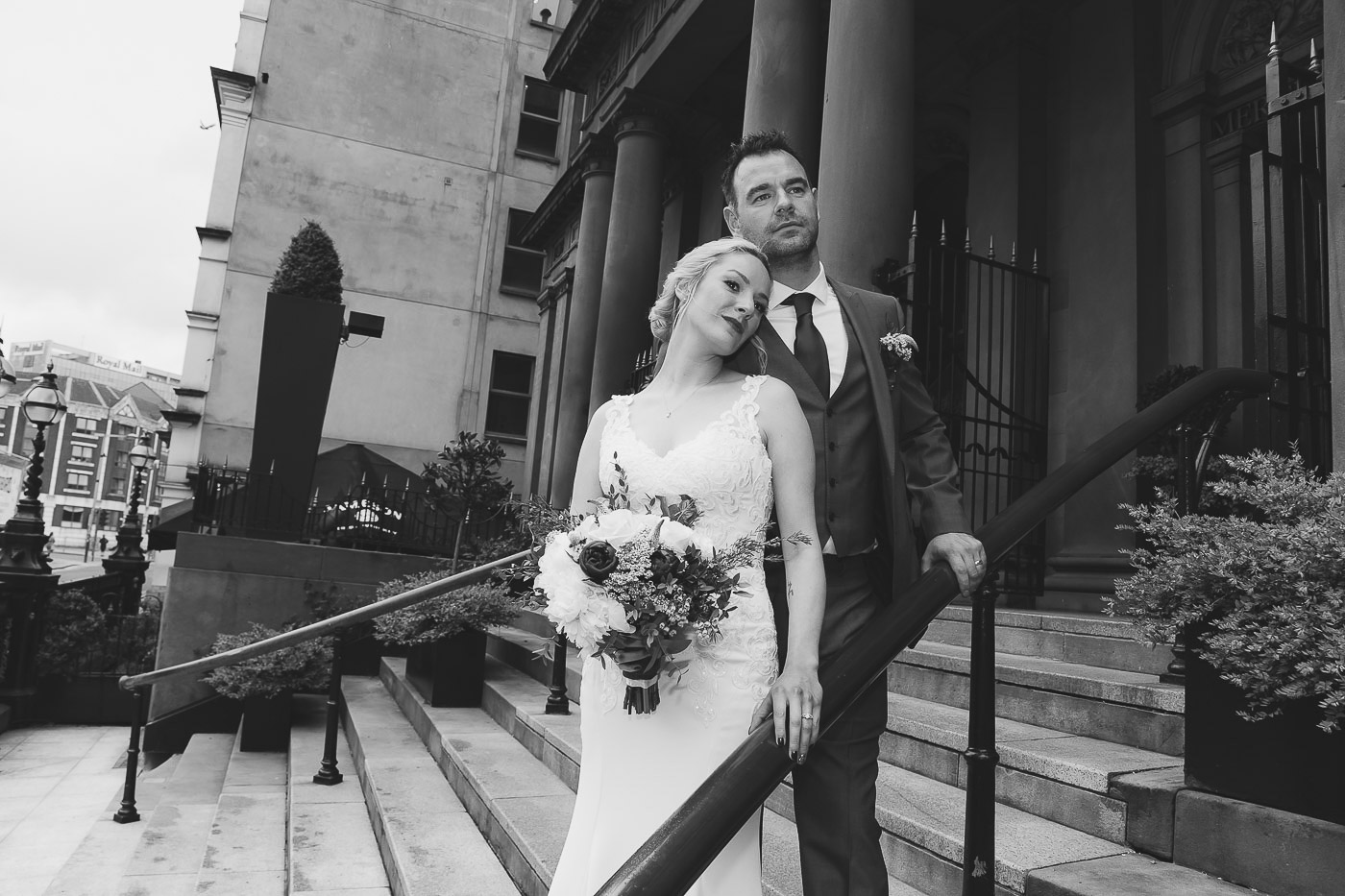 Merchant Hotel Wedding, Bride and groom