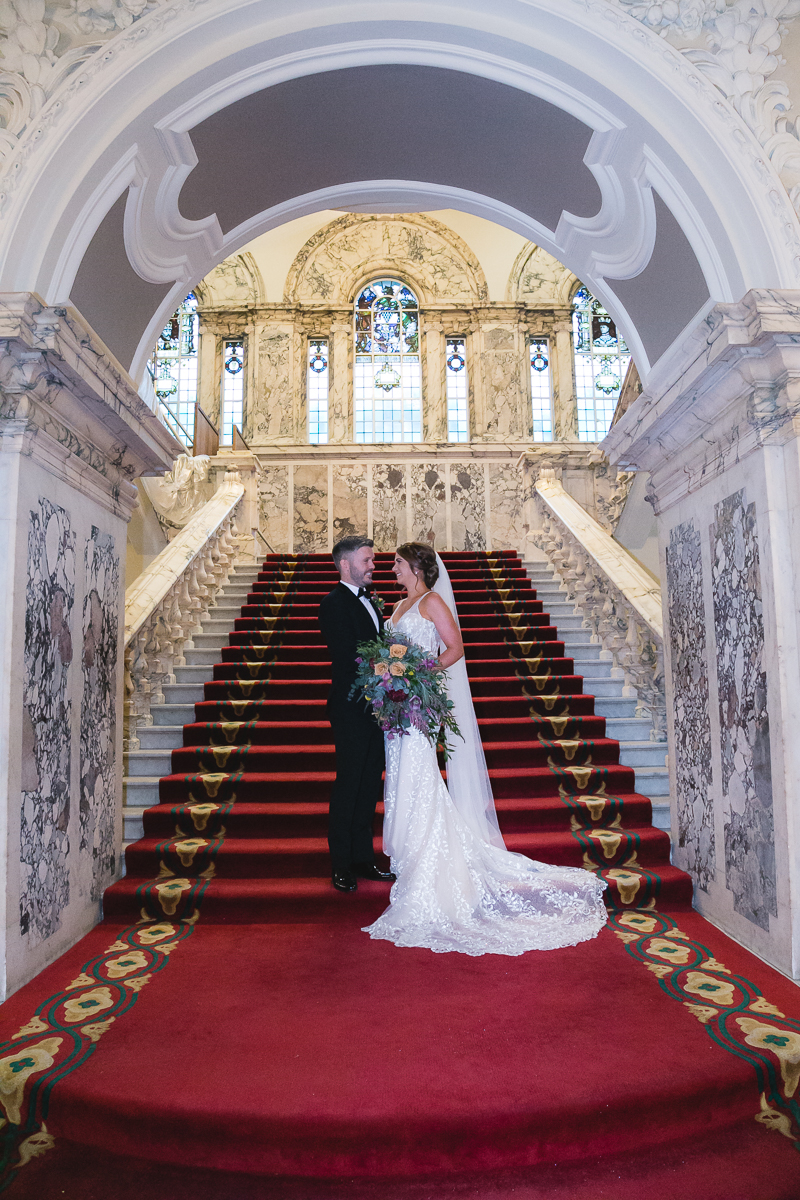 Belfast City Hall wedding Bride and Groom Staircase