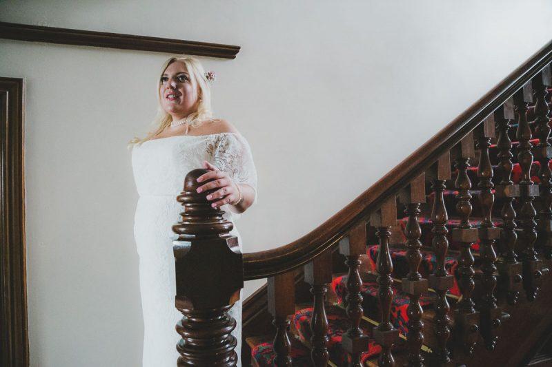 Seaforde Wedding Bride on stairs