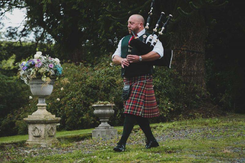 Seaforde Wedding Piper in tartan