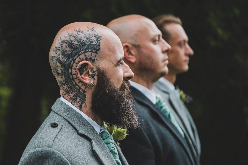 Seaforde Wedding Groomsmen portrait with tattoo