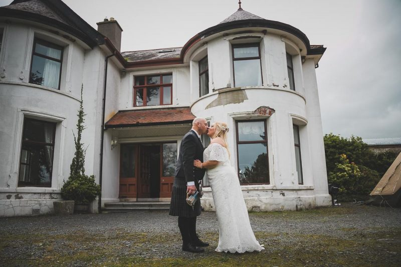 Seaforde Wedding bride and groom kissing