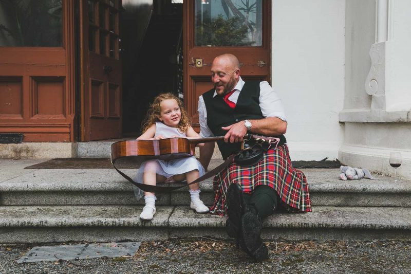Seaforde Wedding father and daughter with guitar